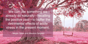 We can use something we already do naturally—recalling the positive past—to buffer the detrimental effects of acute stress in the present moment. - Megan Speer and Mauricio Delgado