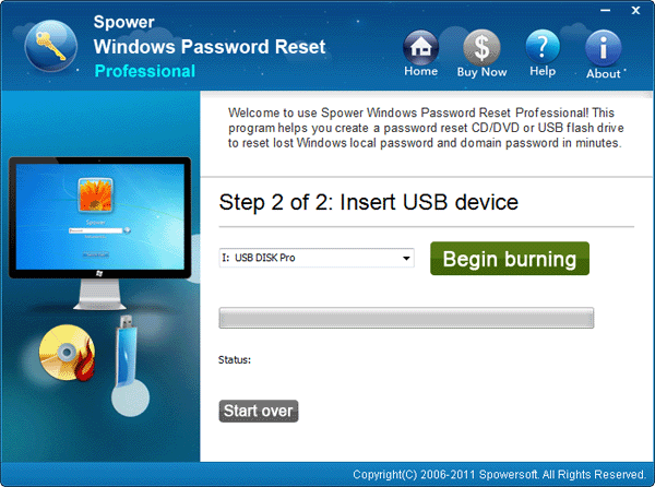 Click Begin Burning to Create Reset Disk - Spower