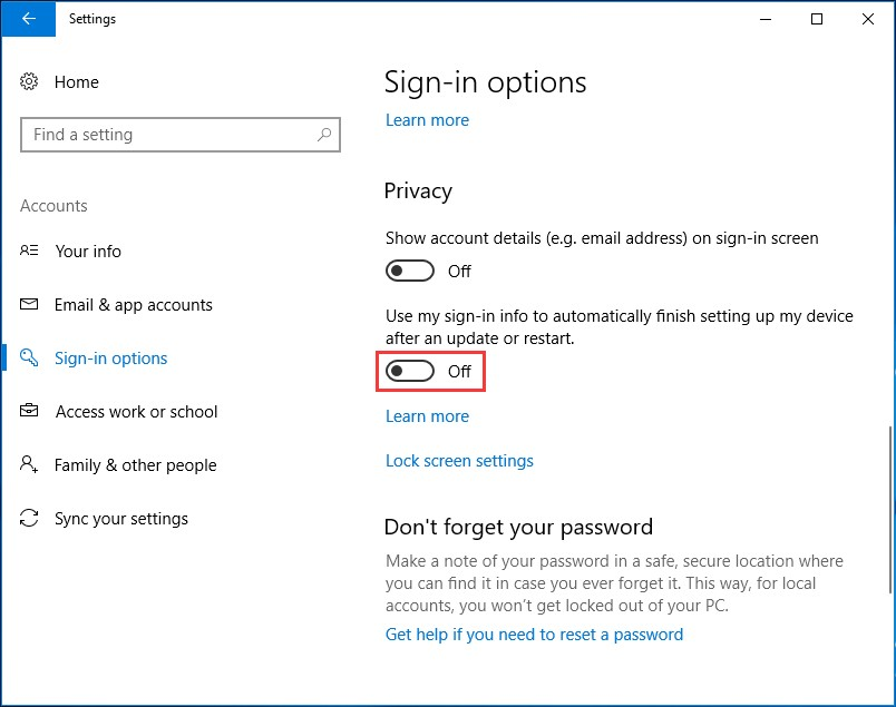 Go to Sign-in in Accounts in Windows 10