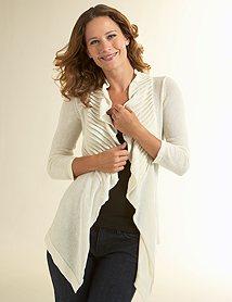 Ann Taylor Loft Pintuck drape front cardigan