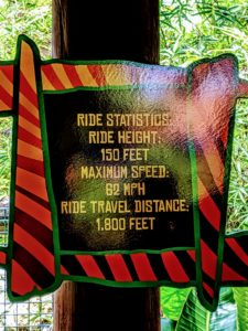 Ride Statistics: Ride Height: 150 feet. Maximum Speed: 62 MPG. Ride Travel Distance: 1,800 feet.