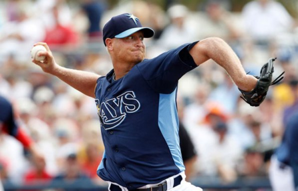 Alex Cobb wasn't particulalry sharp over his two innings, throwing 38 pitches, with a noticeable lack of command, though he felt fine. (Photo courtesy of James Borchuck/Tampa Bay Times)