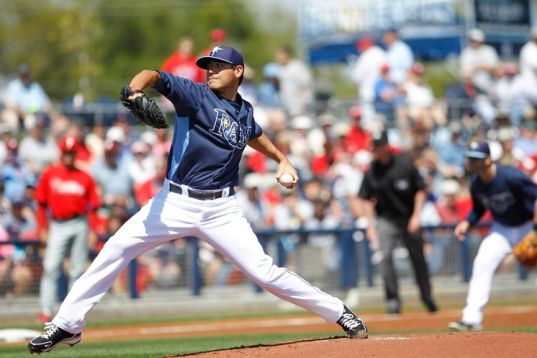 Rays starter Matt Moore pitching in Friday's game against the Phillies, in Port Charlotte, FL (Photo courtesy of the Tampa Bay Times)
