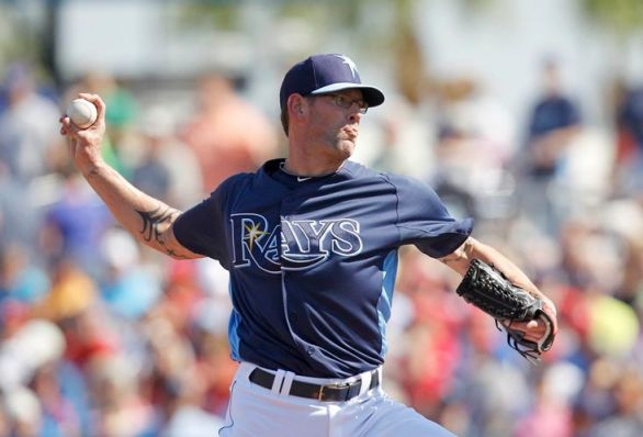 Rays reliever Kyle Farnsworth looked good in his first outing of the spring, putting together a 1-2-3 inning, while hitting 92 MPH on the ballpark radar gun. (Photo courtesy of the Tampa Bay Times)