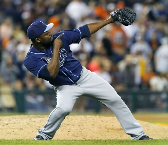 Fernando Rodney celebrates after recording his 12th save of the year in a 3-0 win over the Detroit Tigers. (Photo by Duane Burleson/Getty Images)