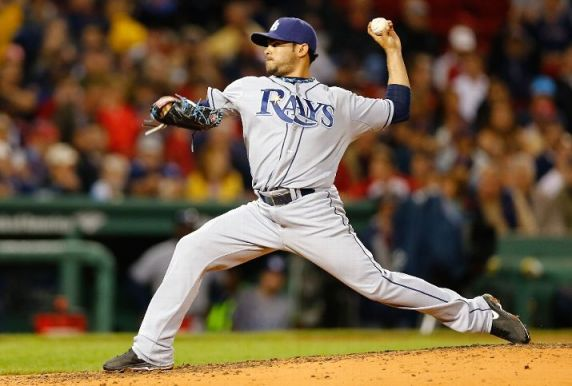 Alex Torres pitches against the Boston Red Sox. (Photo by Jared Wickerham/Getty Images)