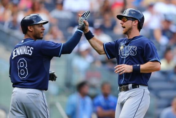 Desmond Jennings and Ben Zobrist in the seventh inning of Sunday's 3-1 win against the Yankees.