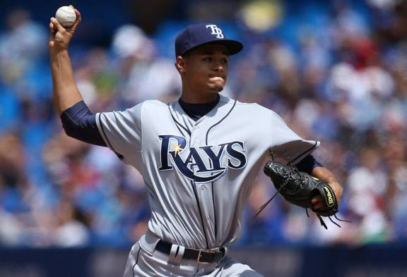 Chris Archer tosses seven innings, allowing one run on five hits and four walks while striking out one against the Blue Jays. (Photo courtesy of the Tampa Bay Rays)