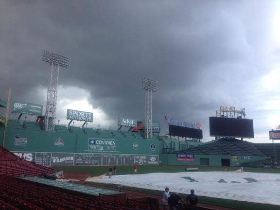 Storm clouds over Fenway. (Photo courtesy of Roger Mooney)