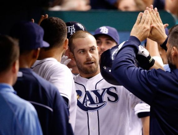 Evan Longoria celebrates his fifth inning two run home run against the Seattle Mariners. (Photo by J. Meric/Getty Images)