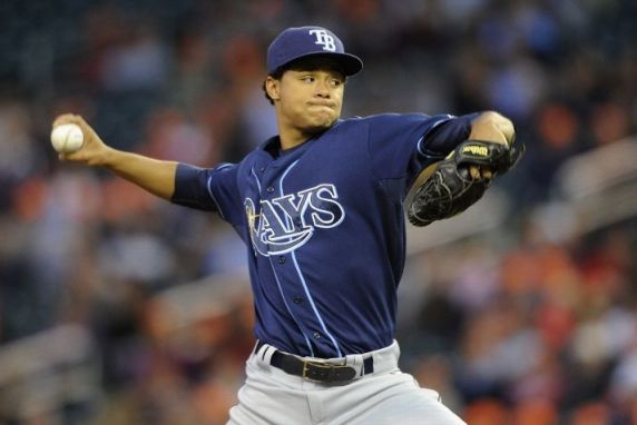 Chris Archer delivers a pitch against the Minnesota Twins during the first inning of the game on September 13, 2013. (Photo by Hannah Foslien/Getty Images)