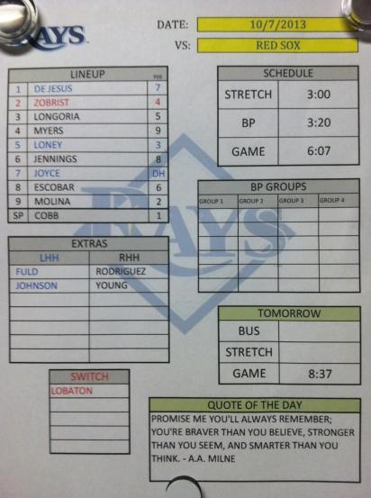 Rays 10/7/13 Starting Lineup. (Photo courtesy of Joe Maddon)