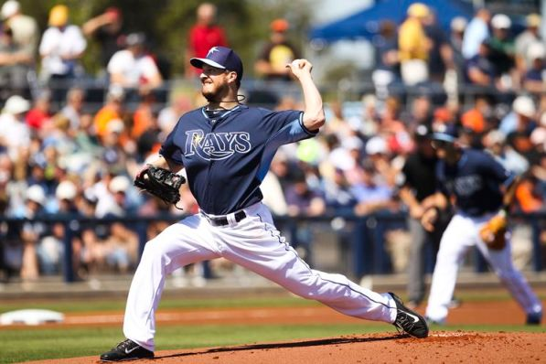 Erik Bedard pitches in the first inning of the Rays opening game of the Grapefruit League season