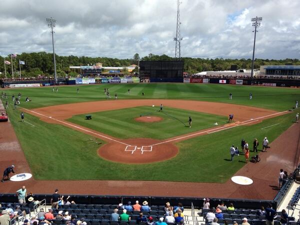 What a difference a day makes. The Rays took on the Red Sox in Port Charlotte, Tuesday. (Photo courtesy of Marc Topkin)