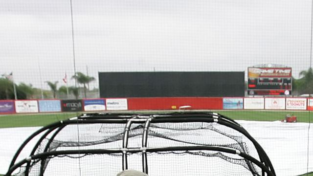 Rain wiped out Thursday's scheduled Grapefruit League action at Ed Smith Stadium. (Photo courtesy of the Tampa Bay Rays)