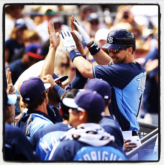 Ben Zobrist after a homer in the first inning against the Yankees. (Photo courtesy of Will Vragovic)