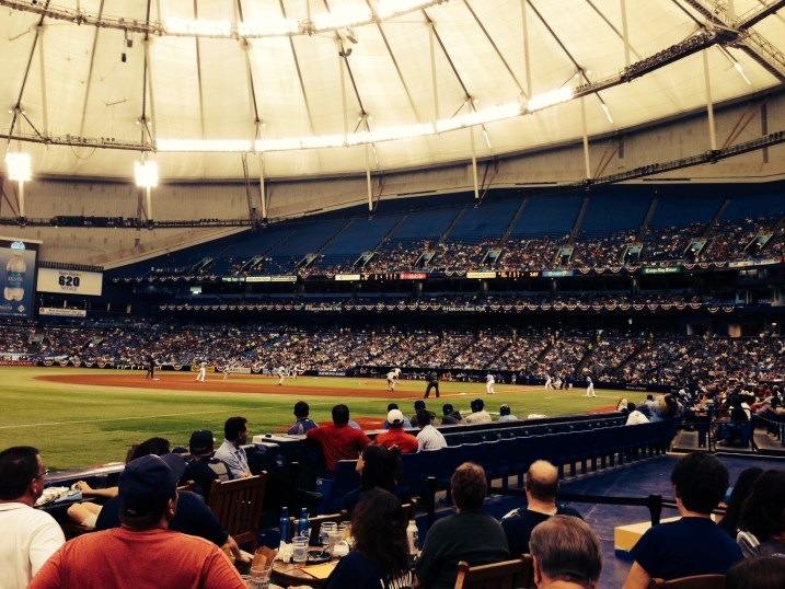 Runners on first and second in the fifth inning Sunday, at Tropicana Field. (Photo courtesy of staff contributor Jacob Del Campo/X-Rays Spex)