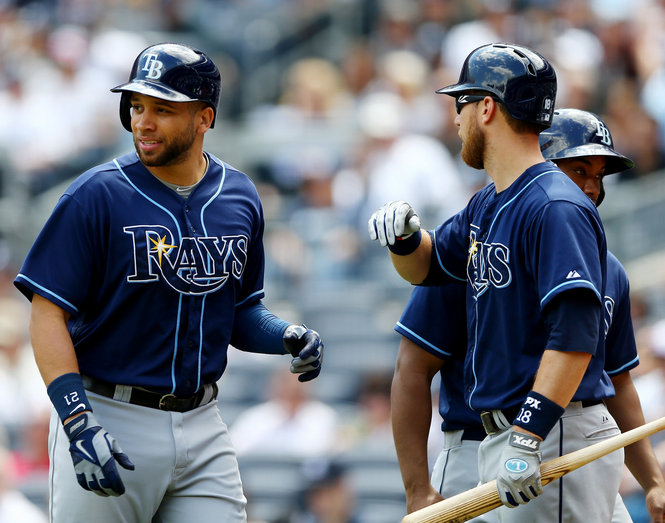 James Loney is congratulated by Ben Zobrist after scoring a run in the second inning against the New York Yankees. (Photo courtesy of Elsa/Getty Images)