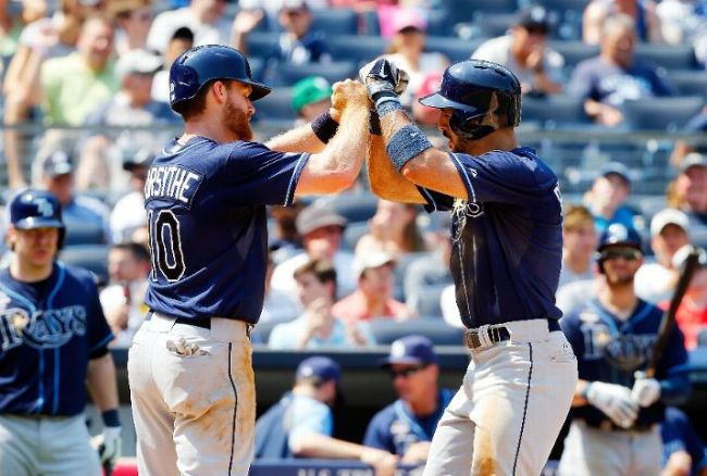 Sean Rodriguez celebrates his sixth inning two run home run against the New York Yankees with Logan Forsythe. (Photo courtesy of Jim McIsaac/Getty Images)