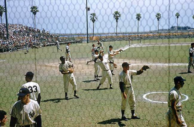 The Yankees at Al Lang Stadium, in St. Pete: A scene from Spring Training in 1957.