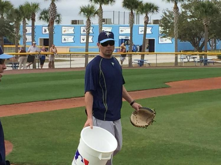 "Joking, ""I have no idea where to go,"" said Kevin Cash while he lent a hand during first day as manager. (Photo and caption courtesy of Marc Topkin)"