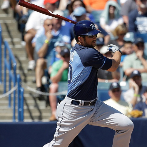 Evan Longoria collected two hits and an RBI in Friday's Spring Training game against the Phillies. (Photo courtesy of the Tampa Bay Rays)