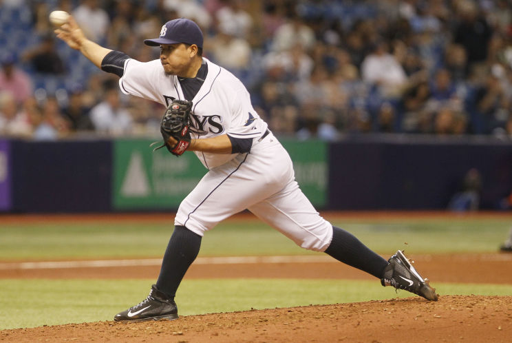 Erasmo Ramirez pitches in the third inning against the Toronto Blue Jays. (Photo credit: Eve Edelheit/Tampa Bay Times)