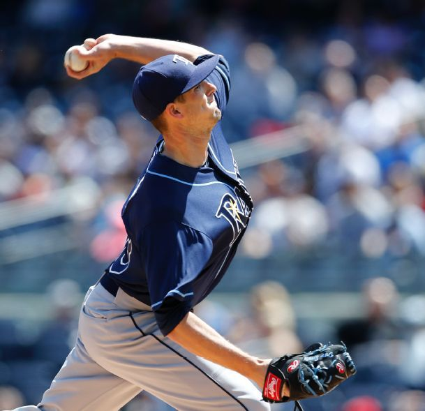 Drew Smyly winds up in the first inning of a baseball game against the New York Yankees at Yankee Stadium in New York, Wednesday, April 29, 2015. (Photo credit: AP Photo/Kathy Willens)