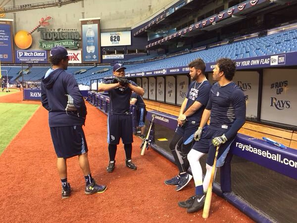 Newest Rays Erasmo Ramirez meets with his new teammates at Tropicana Field Thursday morning. (Photo courtesy of the Tampa Bay Rays)