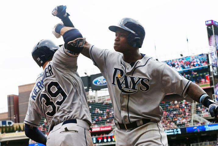 Tim Beckham and Kevin Kiermaier doing their best Bash Brothers impression. (Photo credit: AP Photo/Jim Mone)