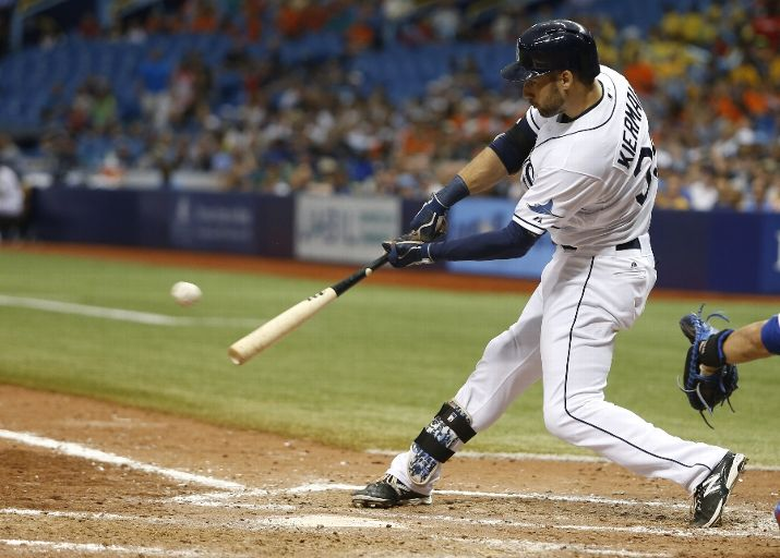 Kevin Kiermaier hits a double during the ninth inning of a game against the Toronto Blue Jays on June 24, 2015. (Photo Credit: Brian Blanco/Getty Images)