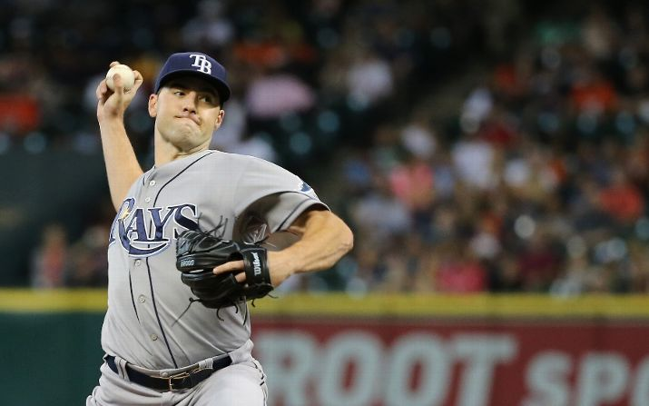 Nathan Karns pitches during the second inning on August 19, 2015 in Houston. (Photo Credit: Getty Images)