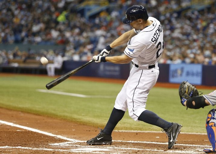 Grady Sizemore hits a two-run home run off of pitcher Noah Syndergaard in the first inning of a game on August 8, 2015 at Tropicana Field. (Photo by Brian Blanco/Getty Images)