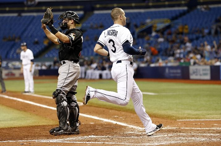 Evan Longoria crosses home plate to score off of a base-clearing double with the bases loaded by Grady Sizemore during the fifth inning. (Photo Credit: Brian Blanco/Getty Images)