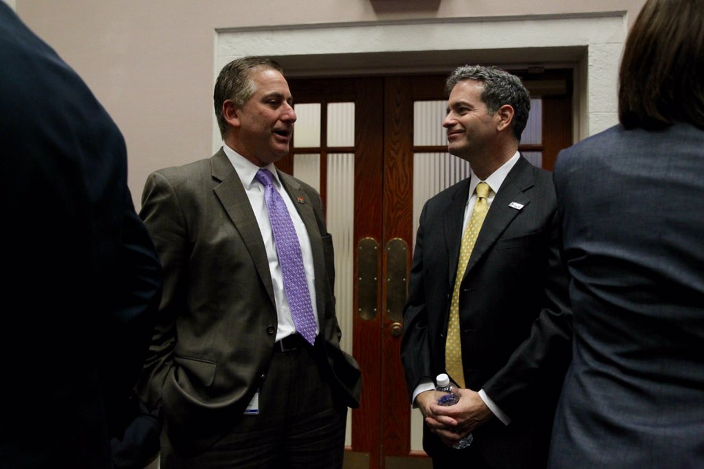 St. Petersburg Mayor Rick Kriseman with Tampa Bay Rays owner Stu Sternberg before Thursday's City Council meeting. (Photo Credit: Will Vragovic/Tampa Bay Times)
