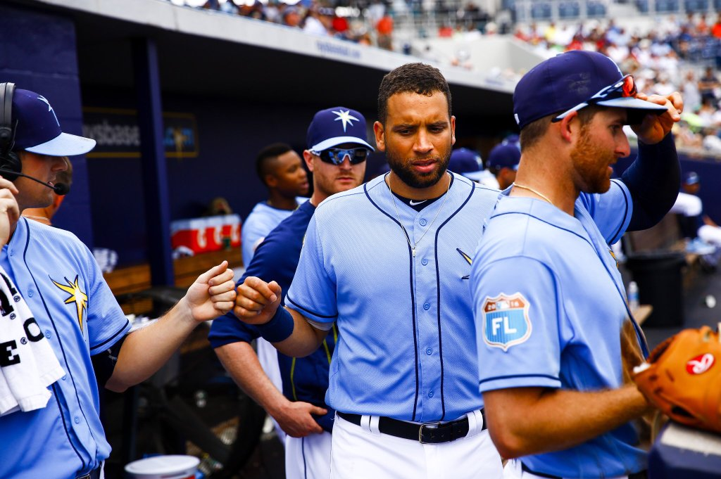 James Loney just prior to being told he will be either traded or released. (Photo Credit: Will Vragovic/Tampa Bay Times)