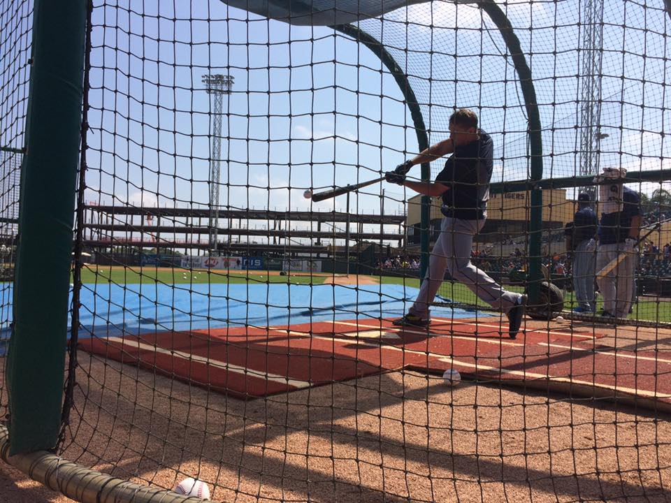 1B/DH Logan Morrison takes batting practice in Lakeland on Friday. (Photo Credit: Tampa bay Rays)