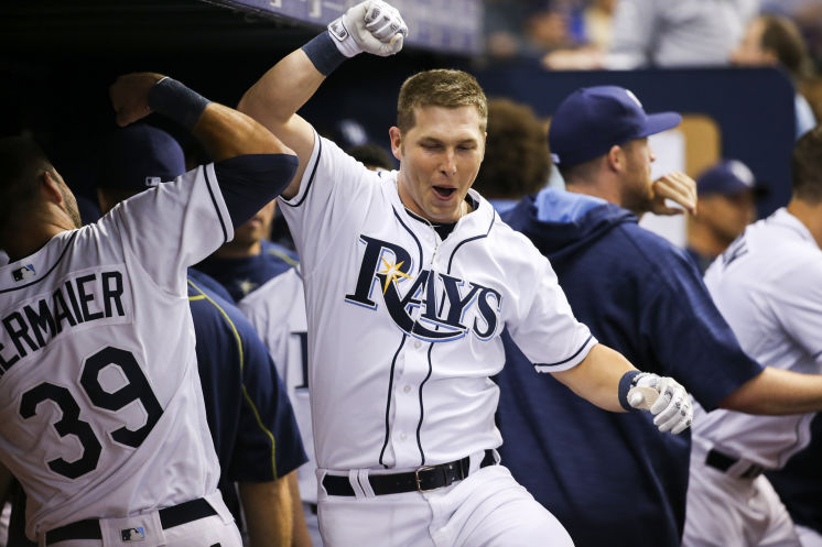 Corey Dickerson celebrates his solo home run with Kevin Kiermaier in the fourth inning of the game between the Tampa Bay Rays and the Toronto Blue Jays on Tuesday, April 5, 2016. (Photo Credit: Will Vragovic/Tampa Bay Times)