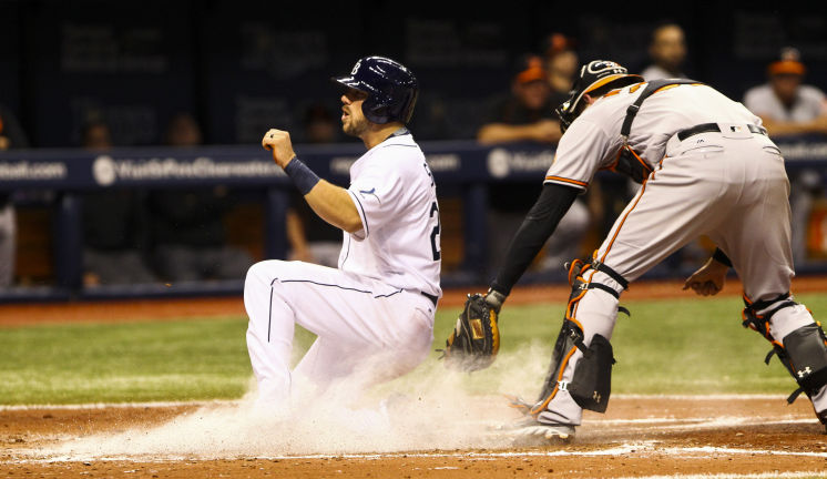 Tampa Bay Rays right fielder Steven Souza Jr. scores on an RBI double by Tampa Bay Rays catcher Curt Casali in the fifth inning of the game between the Tampa Bay Rays and the Baltimore Orioles. (Photo Credit: Will Vragovic/Tampa Bay Times)