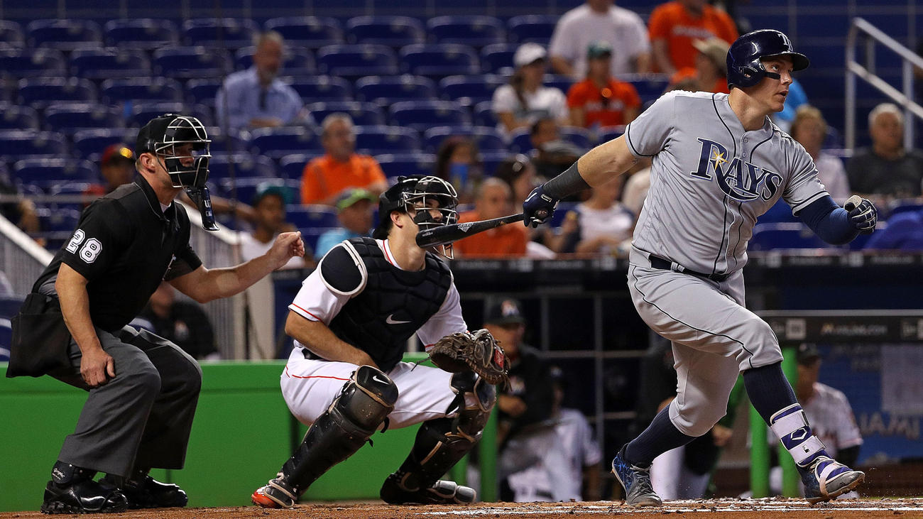 Logan Morrison hits during a game against the Miami Marlins on May 24, 2016. (Photo Credit: Mike Ehrmann/Getty Images)