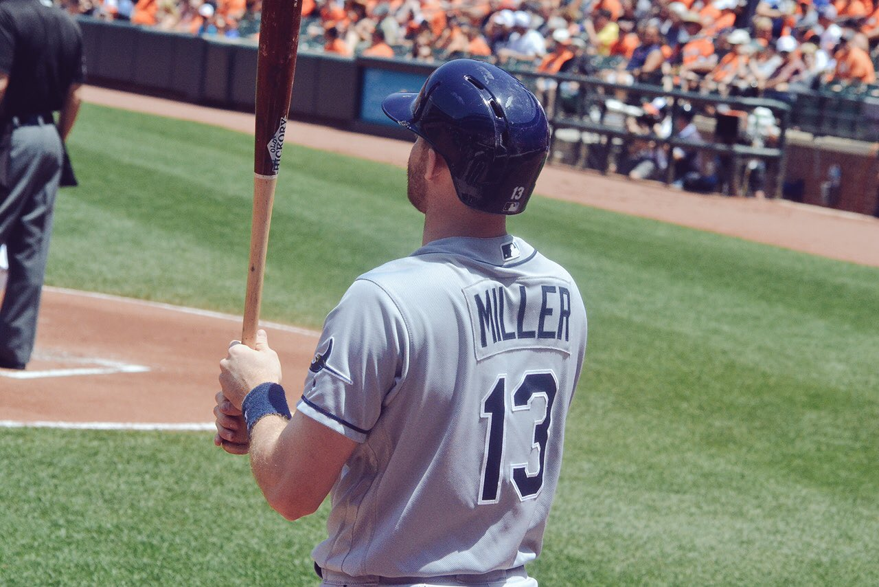 Brad Miller posted back-to-back three-hit games over the weekend. He's now tied with Logan Forsythe (5) for the Rays lead. (Photo Credit: Tampa Bay Rays)