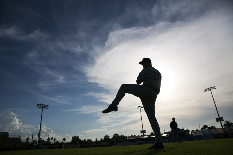 Alex Cobb gets warmed up before a rehab start in Daytona Beach, Fla. on Monday, July 11, 2016. (Photo Credit: Will Vragovic/Tampa Bay Times)