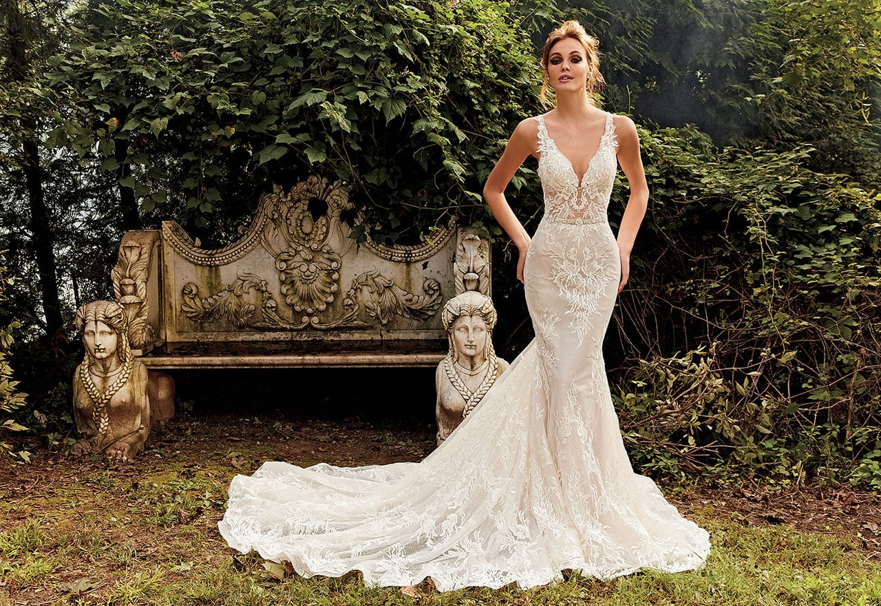 Eve Of Milady Fit And Flare Sequin Wedding Dress