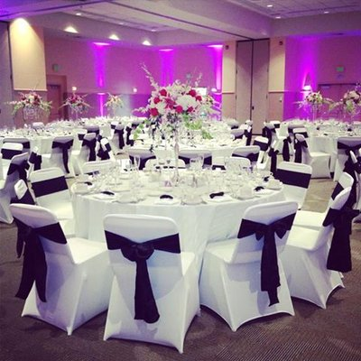 chair cover for rent wedding where to a baby shower covers rental tampa bay florist we quality spandex black and white price is 2 50 each sashes in all colors 1 00 email us more info specials at