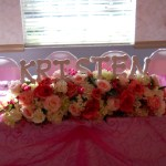 Head table silk flowers with name