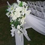Silk pew cascade in white