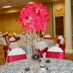 Red Lilly and roses silk rental ball centerpieces