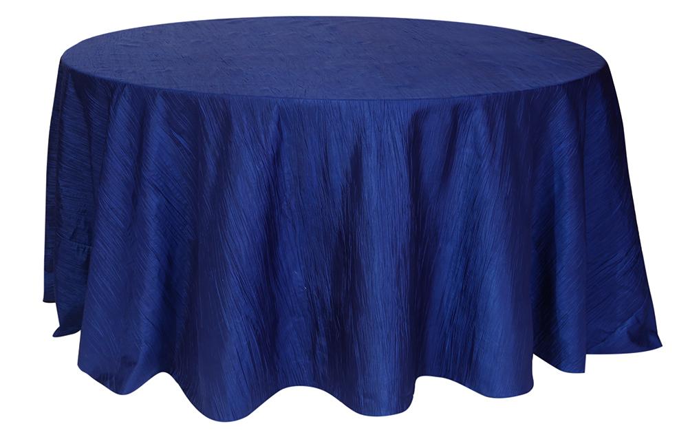 Accordion Taffeta Tablecloths rentals-navy blue