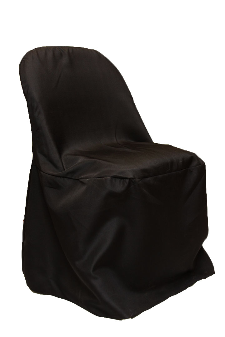 Folding chairs covers rentalsr Polyester black