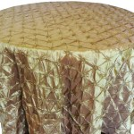 Pinchwheel Taffeta Tablecloth Rentals gold